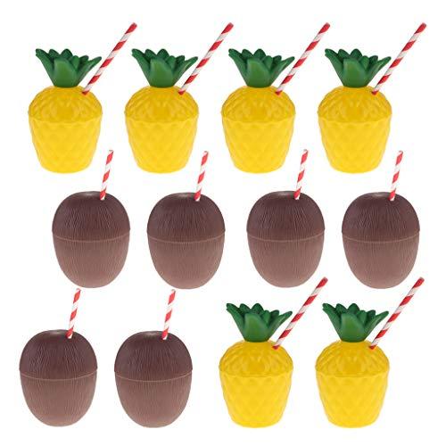 Trinkbecher Cocktailbecher Ananas und Kokosnuss Becher Plastikbecher für Party Geburtstag usw. ()