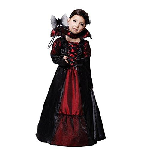 Pormow Halloweenkostüm für Kinder Cosplay Kostüme Hexe Vampire Maskerade,Vampir-weiblich,L(120-130cm) (Vampir Weibliche Kostüme)