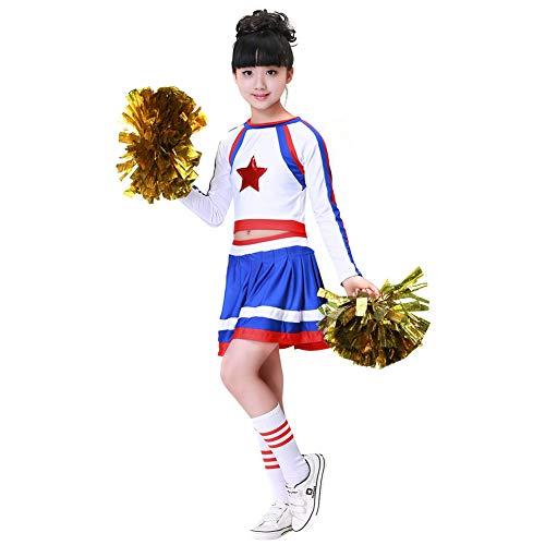 (Mädchen Jungen Cheerleader Kostüm Cheerleading Cheerleader Uniform Kinder Karneval Fasching Party Halloween Kostüm mit 2 Pompoms Socken (Mädchen 140))