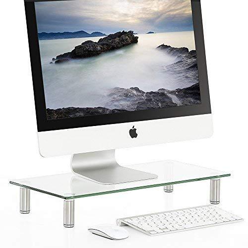 Fitueyes supporto monitor, supporto per computer portatile, supporto da scrivania, supporto da tavolo, monitor raiser, in vetro temperato, partata max 15kg, 50,8x24x7,6cm, dt105001gc