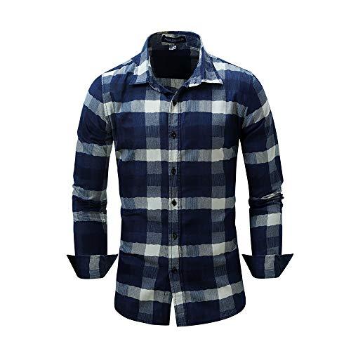 Mens Freizeit Splicing Farbe Plaid Cuffed Sleeve Shirts (Farbe : One Color, Größe : M) -