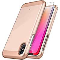 Caseology Savoy Series Case Designed for iPhone X with Sleek Premium Luxury Cover and Tempered Glass Screen Protector for Apple iPhone X / iPhone 10 - Gold