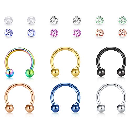 MODRSA 6 Stück 16G Cartilage Helix Ohr Piercing Hufeisen Ersatz Kugel Nase Lippe Zunge Augenbraue Ringe Piercing Rook Daith Chirurgenstahl Damen Herren Fake Nasenpiercing -Mix Color -