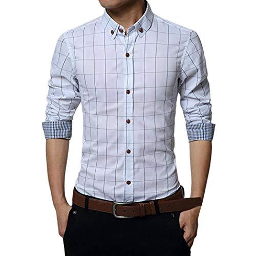 (MRULIC Oktoberfest Herren Langarmshirt Kariert Shirt Button-Down Hübsches T-Shirt(Weiß,EU-46/CN-L))