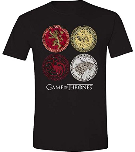 Game of Thrones Herren T-Shirt House Crest Schwarz (Black)