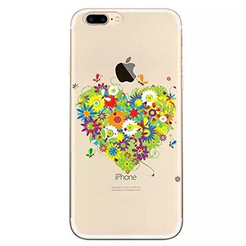 """Coque iPhone 7 Plus 5.5"""" Ultra-Mince Silicone TPU Gel Transparent Souple Etui Housse Sunroyal® Apple iPhone 7 Plus (5.5 Pouces) Case de Protection Spécial Back Cover Anti-Choc Bumper - Fleur Violet Pattern 10"""