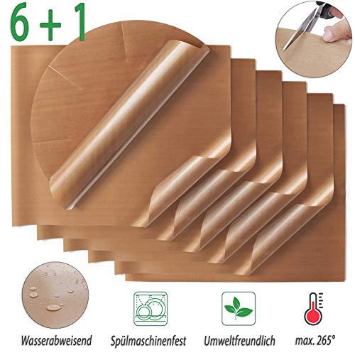 SpaceToy Premium Dauerbackfolie (7er Set), Backpapier wiederverwendbar, hitzebeständig, antihaftbeschichtet und spülmaschinenfest (7er Pack – 6X eckig, 1x rund)