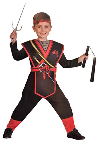 Brandsseller Jungen Kostüm Verkleidung Fasching Karneval Party - Motiv 2 Ninja M (7-10 Jahren)