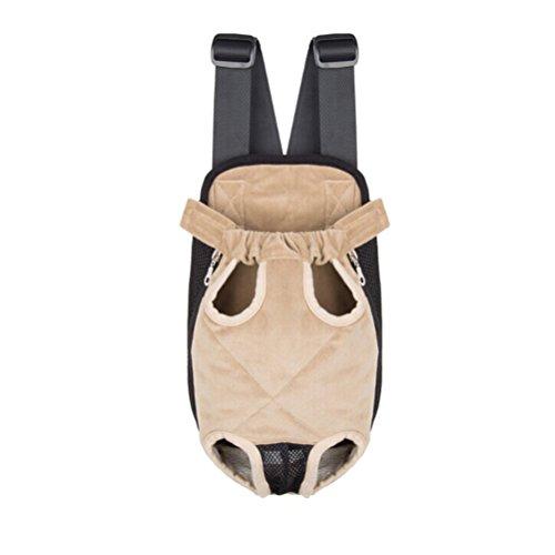 Ueetek zaino per cani animali domestici trasportino per testa fuori porta sempre con te il tuo cagnolino o gatto (taglia m) (beige)