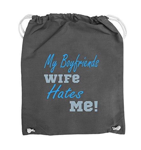 Comedy Bags - My boyfriends wife hates me! - Turnbeutel - 37x46cm - Farbe: Weiss / Rosa-Violet Dunkelgrau / Eisblau-Blau