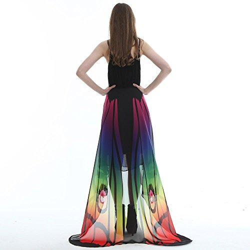 Painting Kostüm - Junjie Chiffon Schmetterling Flügel Schal,Damen Ladies Costume Pashmina mit Armband Nymphe Elf Kostüm Transparent Partei Rosa Grünes Multicolor Gelb Größe: 185 * 145cm