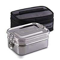 Stainless Steel Bento Box, 1550ml Wide Divided Eco Lunch Food Containers, Perfect for Adults - Kids, Plastic Free Metal Boxes Tiffin Lunchbox with Lunch Bag for Salad, Meat, Veggies