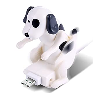 ASOSMOS USB Kabel Ladekabel Mini Hund Lustige Welpen Spielzeug für Android iPhone Smartphone Tablet (Schwarz und Weiß(für Android))