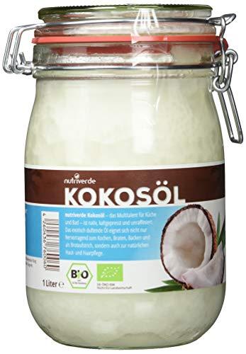 Nutriverde BIO Kokosöl - 1 x 1.000 mL (1L) Neu im Bügelglas - KOCHEN, BRATEN, BACKEN + HAAR- & HAUTPFLEGE bio, nativ, kaltgepresst