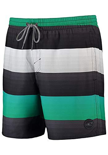 O'Neill Herren Mid vert Striped Shorts Badeshorts, Grey AOP W/Green, L -
