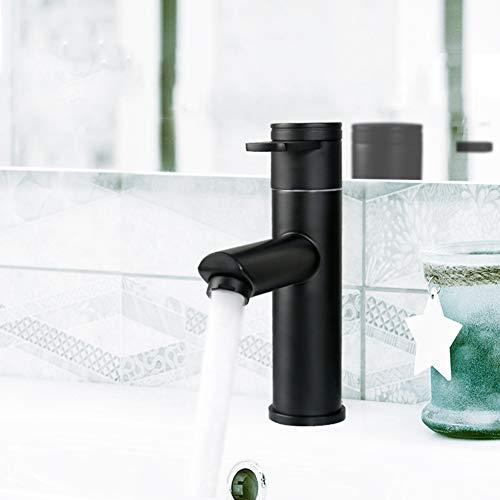 MNSSRN Schwarzer Bassin-Hahn, 304 Edelstahl-Wasser-Einsparung Bubbler-Wasser weicher, intelligenter heißer und kalter Thermostat-Schalter-Hahn - Hitze Matte Thermostat