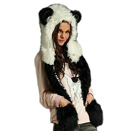 Très Chic Mailanda Fell Mütze Damen Kapuzenschal Winter Plüschmütze Tiermütze Ohren mit Handschuhe Schal Kunstfell (One Size, Panda (Weiss und Schwarz))