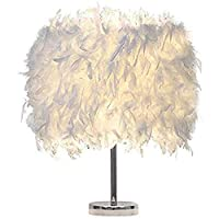 Cratone Feather Table Lamp Elegant White Desk Beside Lamp Small Nordic Modern Decorative Lamp for Bedroom Living Room Button Switch Support E27