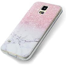 Funda Samsung Galaxy S5, Carcasa Samsung S5 Teléfono Caso Cubrir Transparente, Ultrafina Rigida Anti-rasguñe Anti Choques Anti-Arañazos Funda, Patrón de Mármol Piel Protectora Shell TPU Gel Silicona para Samsung Galaxy S5