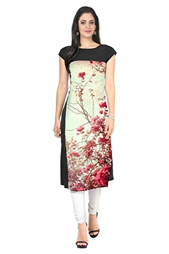 New Ethnic 4 You Women's Crepe Straight Kurti (Ngg040-Xl_Cream & Black_X-Large)
