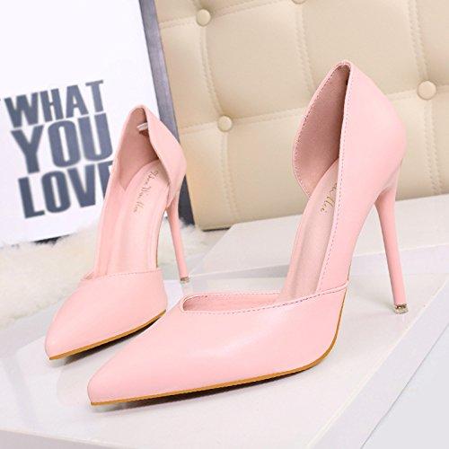 Asakuchi scarpe a punta versione coreana della sexy night club è stato sottile scarpe con tacco alto e cavo Pink