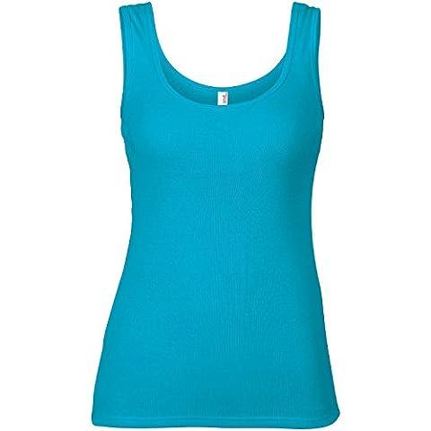 Anvil Womens/Ladies Sleeveless 1x1 Baby Rib Vest/Tank Top (XL) (Caribbean Blue)