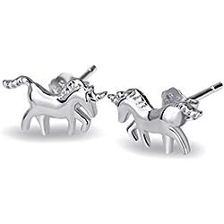 Silver Mountain Pendientes Pequeño Unicornio Plata de ley 925 en caja de regalo