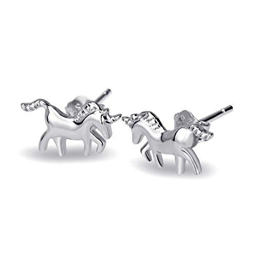 Einhorn-Ohrstecker-Ohrringe aus 925 Sterling-Silber für Kinder Damen Mädchen