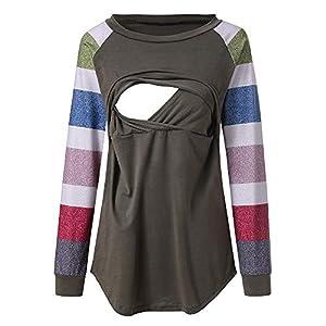 STRIR-Camisetas-Mujer-Manga-Larga-Lactancia-Maternidad-Enfermeria-CamisasCamiseta-de-Mujer-Maternidad-de-Doble-Capa-premam-Lactancia-Blusa-de-Manga-Larga-Lactancia-Top-Camiseta-Blusa-XXL-Verde