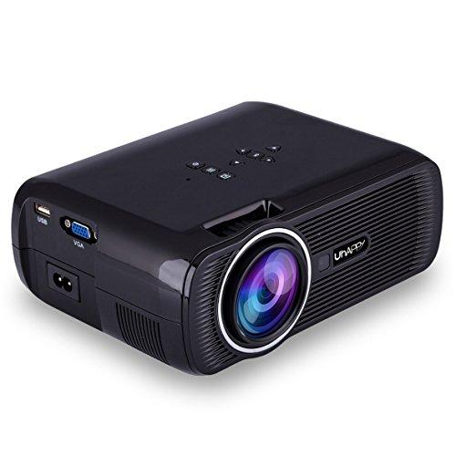 【2018 new style】proiettore portatile,sinuk u80 2200 lumens video proiettore,full hd 1080p lcd proiettore,multimedia per home theater/home cinema con tv/av/vga/usb/hdmi (nero)