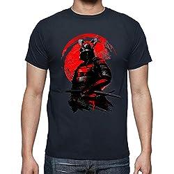 latostadora - Camiseta Guerrero Samurai para Hombre Azul Marino L