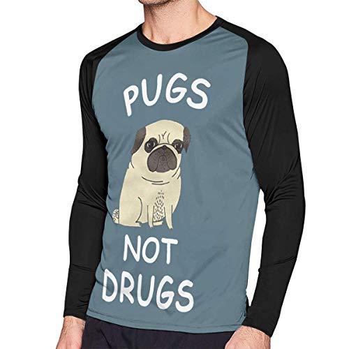 Herren Langarm Classic T-Shirt, Men's Casual Pugs Not Drugs Long Reglan Baseball Tee -