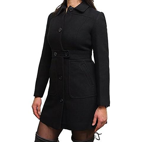 Mujeres de las señoras Negro Diseñador abrigo de invierno cálido estilo apto