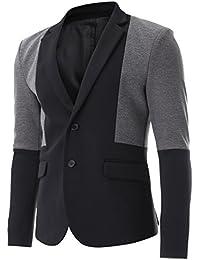 FLATSEVEN para hombre dos tonos 2Botón Single Blazer Casual chaqueta