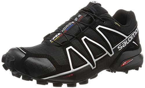 Salomon Speedcross 4 GTX, Scarpe da Trail Running Impermeabili Uomo, Nero Black/Silver Metallic-X, 45 1/3 EU