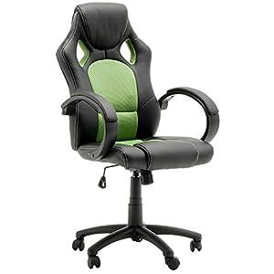 silla ejecutiva Robas Lund con PU / PVC / cubierta de malla, marco y el cubo en nylon, lookblack RACER y plata, (W / D / H) aprox. 60x68x117 cm