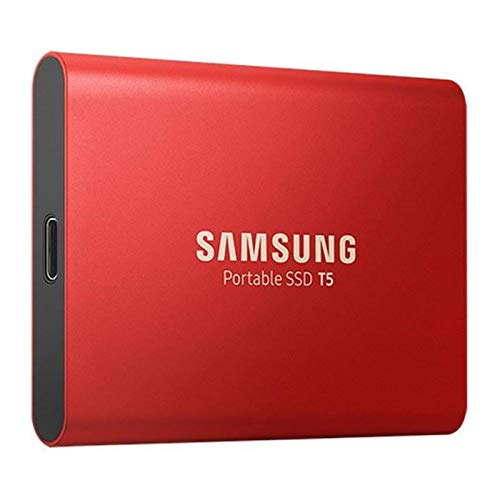 Samsung MU-PA500R/EU Portable SSD T5 500 GB (USB 3.1 bis zu 540 MB/s, inkl. USB Kabel Typ C auf C und Typ C auf A) metallic red -