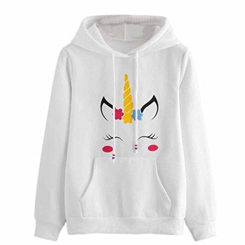 TWIFER Damen Einhorn Print Langarm Hoodie Sweatshirt Weiß Sweater Kapuzenpullover (Hollister Pullover Weiß)