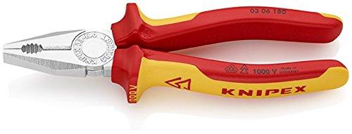 KNIPEX 03 06 180 Kombizange verchromt isoliert mit Mehrkomponenten-Hüllen, VDE-geprüft 180 mm