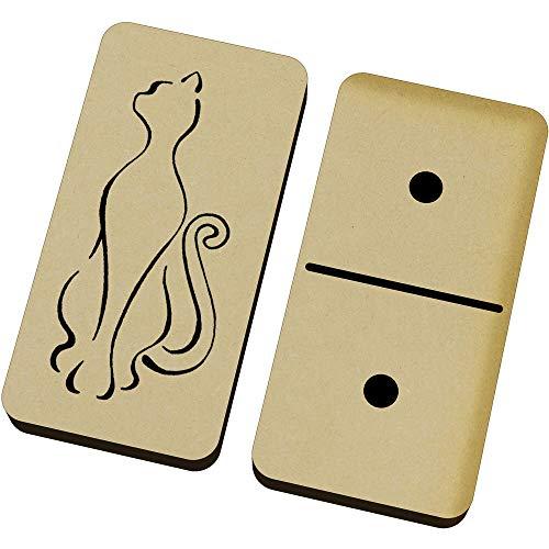 Azeeda 'Katze Umriss' Domino-Spiel und Box (DM00021864)