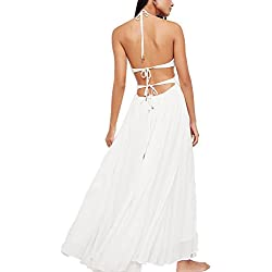 QitunA Mujer Vestidos Elegante Bohemia Largo De Deep V-Neck Playa Vestido Verano Blanco S