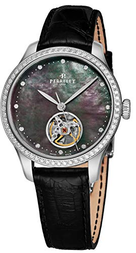 Perrelet Women's 35mm Black Alligator Leather Band Automatic Watch A2069-2