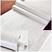40 cm × 200 cm Adhesivos Vinilo Madera Papel de Contacto de Madera Blanco Adhesivo de Plástico Adhesivo Posterior Pegatinas de Vinilo Autoadhesivo PVC Pegatinas Papel Adhesivos Papel Madera Blanco