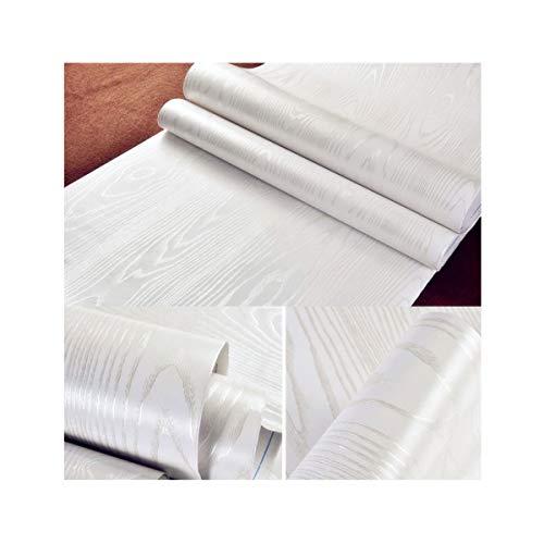 Hode Vinilos Decorativos 40 cm × 200 cm PVC Espesar Autoadhesivo Madera Blanco Papel Adhesivo para Muebles