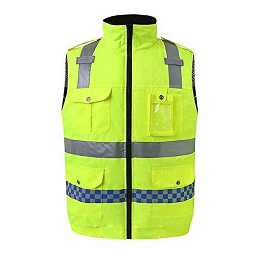Asnvvbhz Sicherheitsweste, Baumwolle mit Mehreren Taschen, fluoreszierend, warm, kann beidseitig getragen Werden. Warnwesten Für Bauarbeiter, Camping-Jagdweste (Size : M)