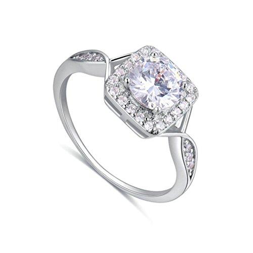 Adisaer Sterling Silber Ringe für Damen Runde Custer Kristall Zirkonia Damenring Poliert Trauringe Weiß Größe 57 (18.1)