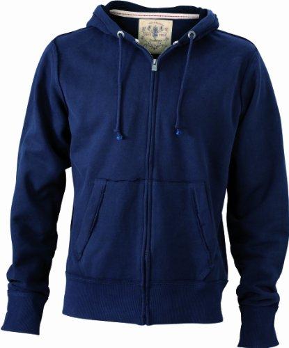 James & Nicholson Herren Sweatshirt Kapuzenjacke Men's Vintage Hooded Sweatshirt Blau (Navy)