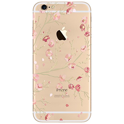 WE LOVE CASE iPhone 7 / 8 Hülle Blumen Henna Rosa , iPhone 7 / 8 Hülle Transparent Durchsichtig Weiche Silikon [Crystal Klar] TPU Flexibel Case Cover Damen / Mädchen Tasche Kasten Schutzhülle Handyhül