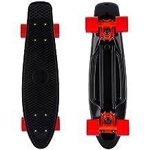 "Mini monopatín retro skateboard infantil de cuatro ruedas (Tabla de 22"", Ruedas de PC de 60mm) (Negro)"
