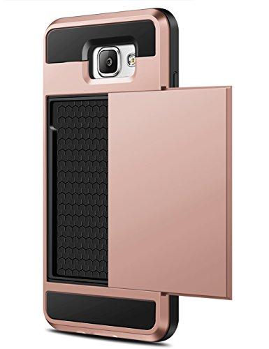 Coolden Samsung Galaxy A5 2016 Hülle, Premium Handyhülle mit Kartenfach Silikon TPU + Hard PC Bumper Cover Doppelschichter Schutz Handytasche für Samsung Galaxy A5 2016 (Rosegold)